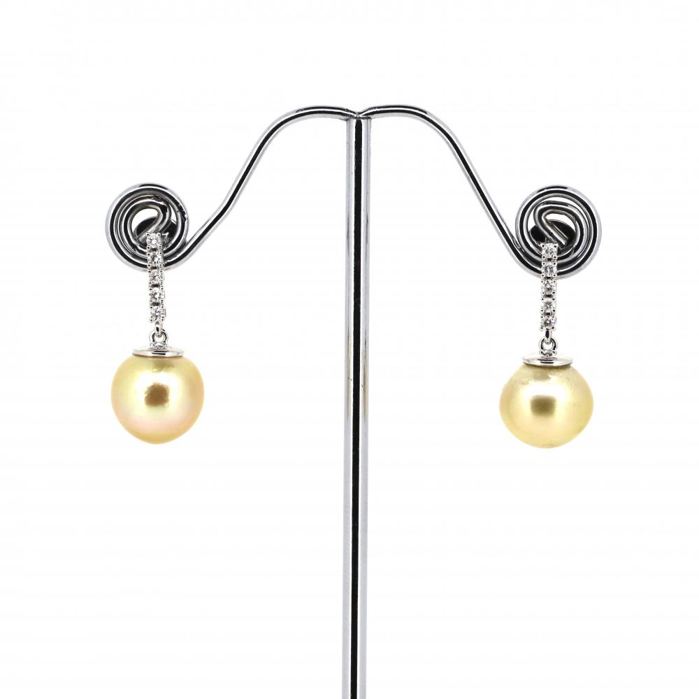 14K White Gold, Cultured South Sea Pearl and Diamond, Vintage Inspired Drop Earrings
