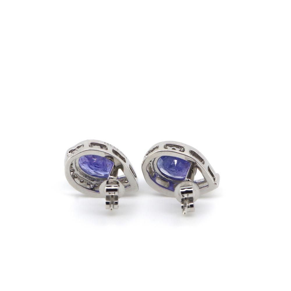 14K White Gold, Tanzanite and Diamond, Tear Drop Stud Earrings