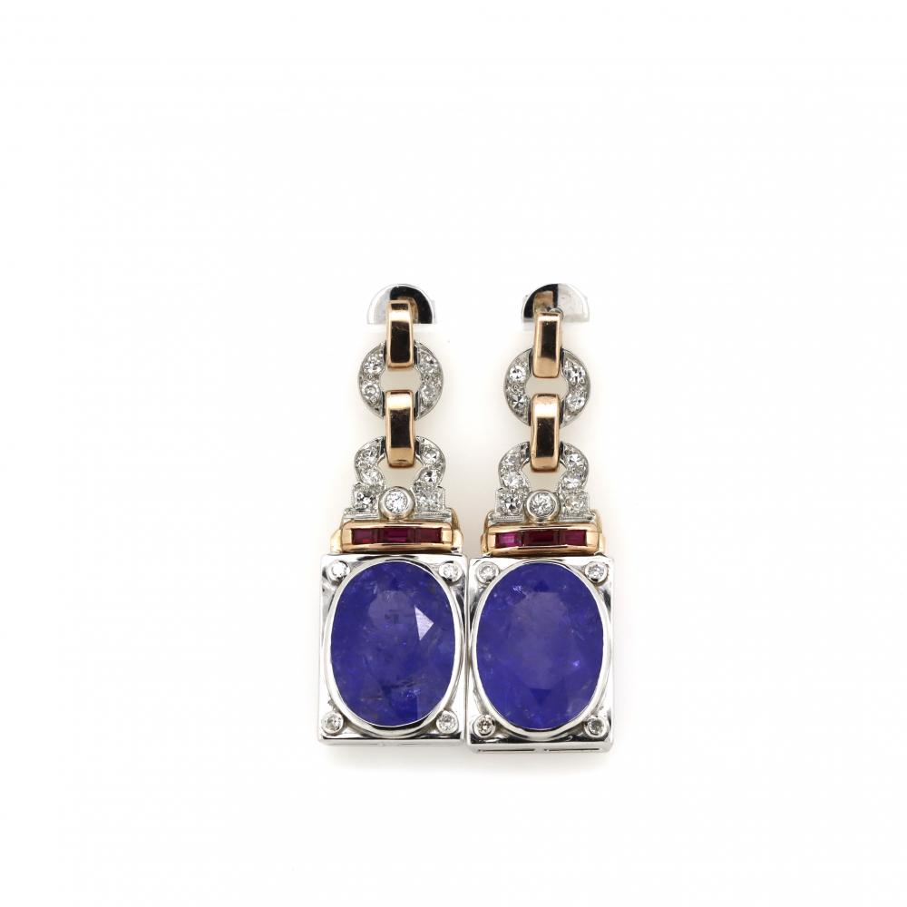 14K White and Rose Gold, Tanzanite, Ruby and Diamond, Vintage Design Earrings