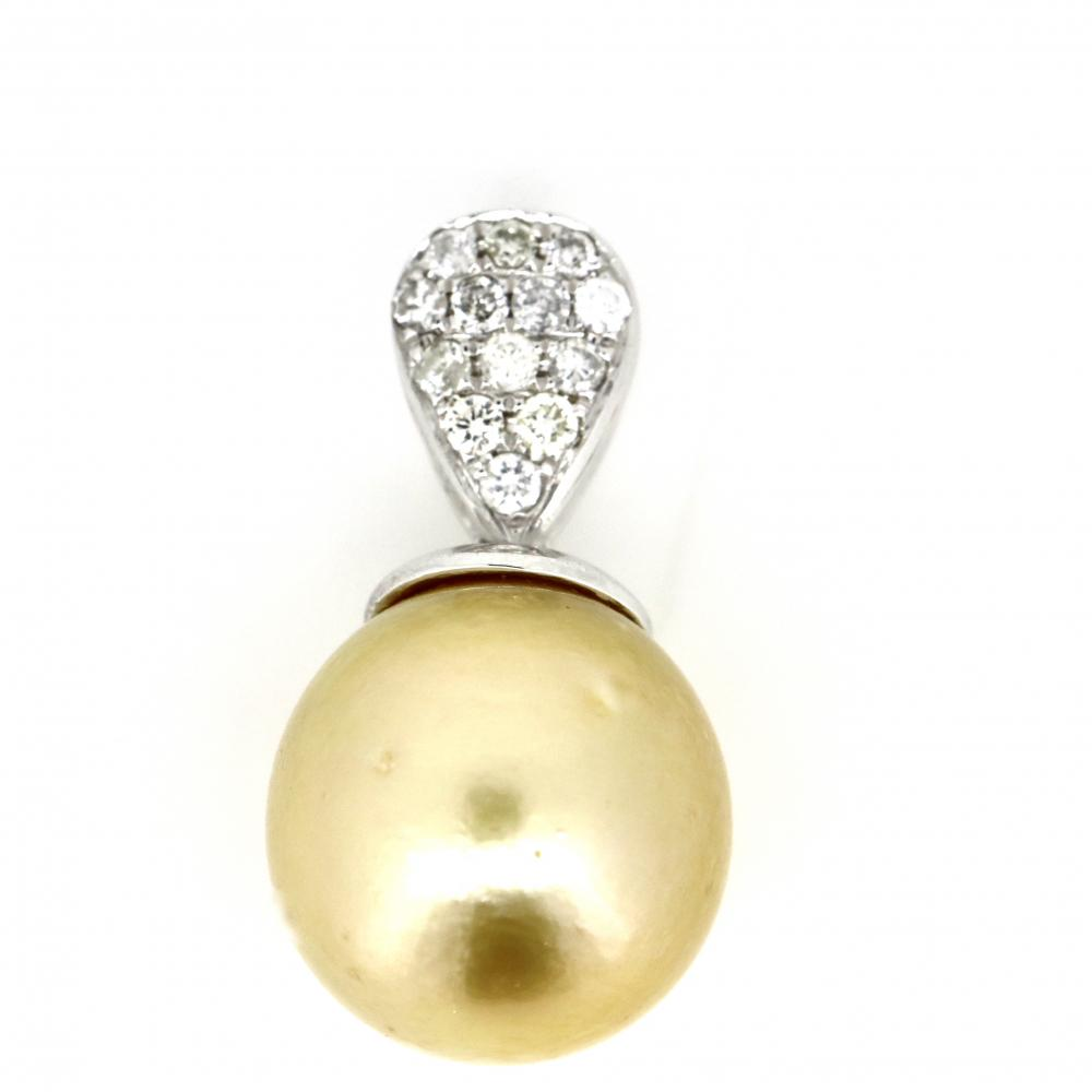14K White Gold, Cultured South Sea Pearl and Diamond, Vintage Style Pendant