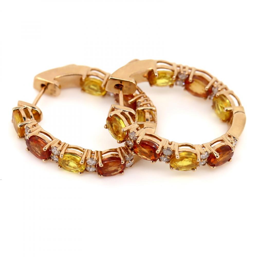 14K Rose Gold, Sapphire and Diamond, Vintage Style Hoop Earrings