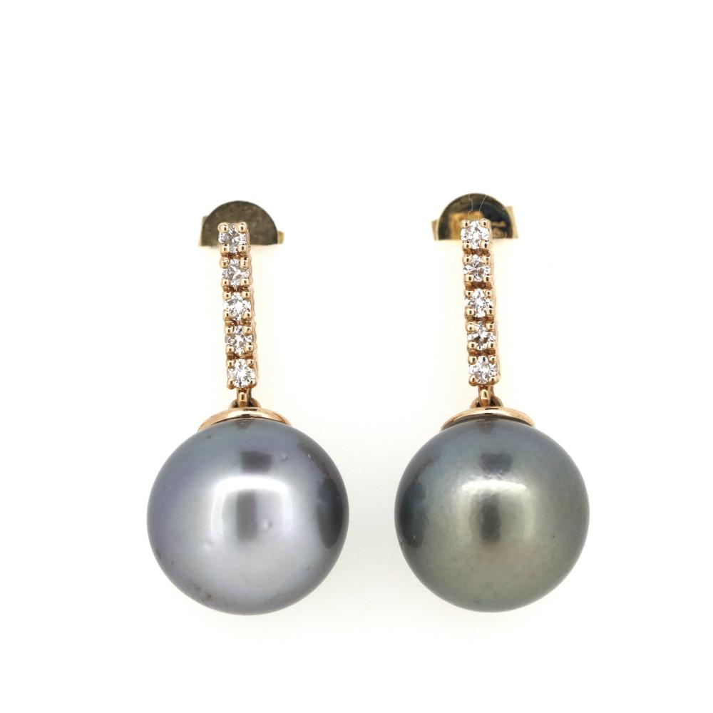 14K Rose Gold, Cultured Tahitian Pearl and Diamond, Vintage Style Drop Earrings