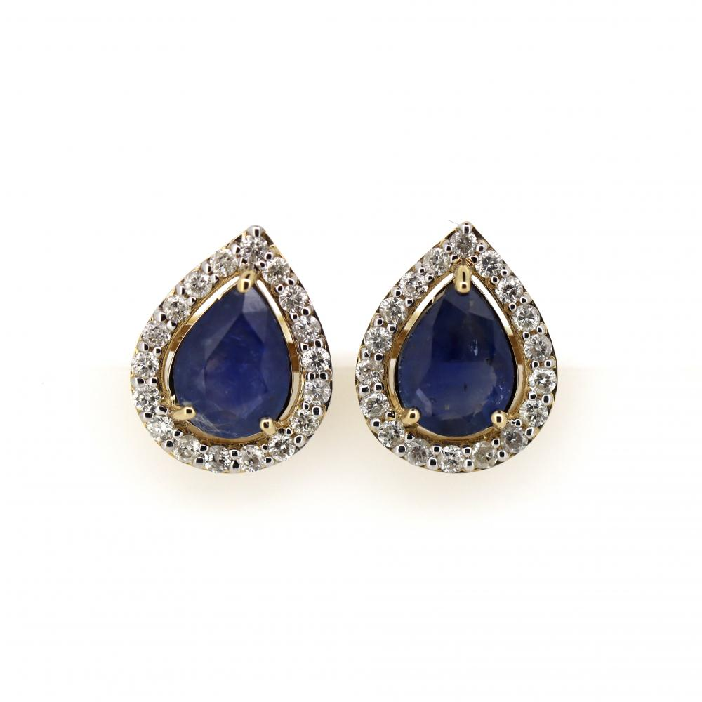 14K Yellow Gold, Sapphire and Diamond, Vintage Style Halo Stud Earrings