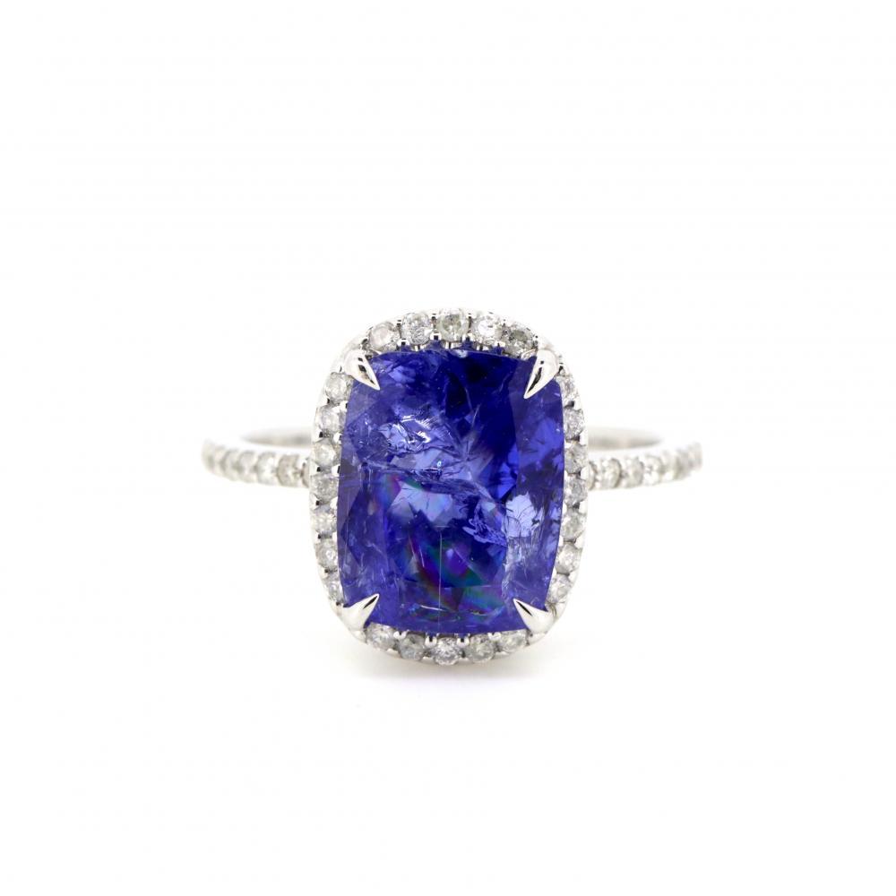 14K White Gold, Tanzanite and Diamond, Vintage Style Halo Ring