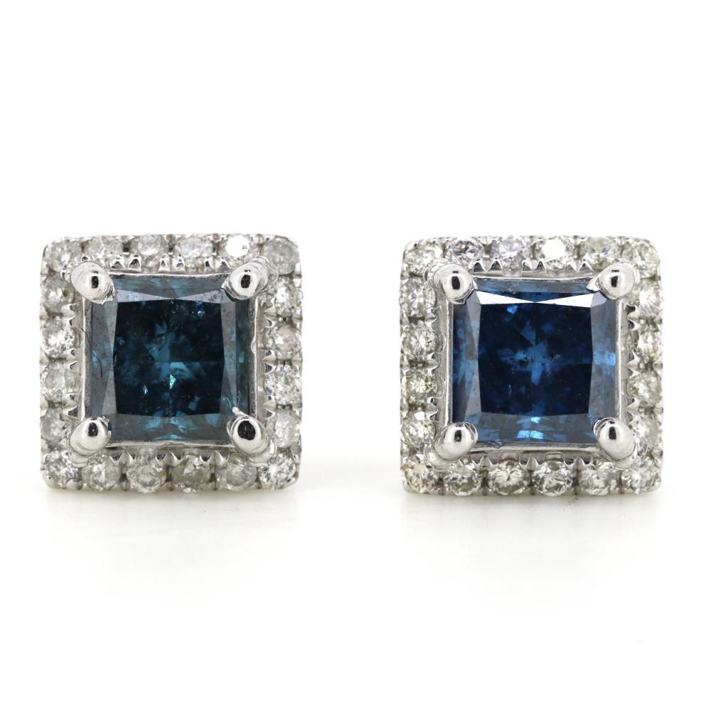 14K White Gold, Blue Diamond, Halo Stud Earrings