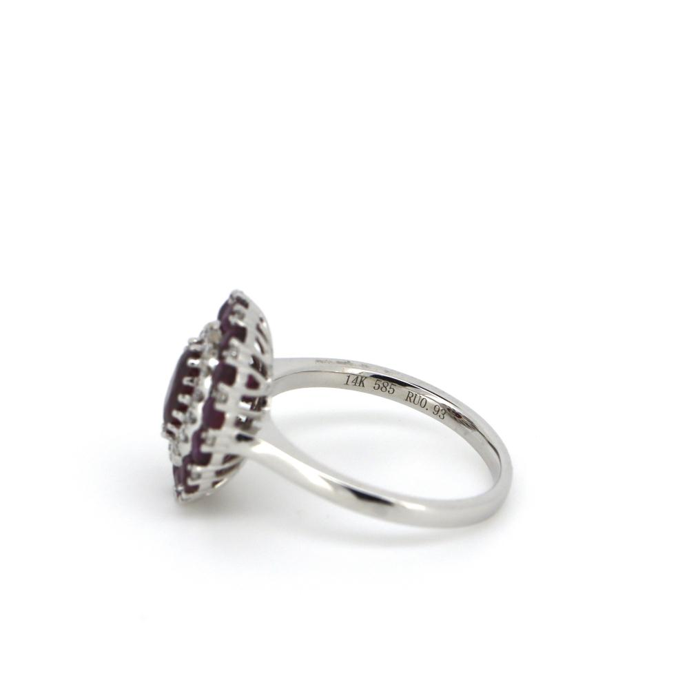 14K White Gold, Ruby and Diamond, Double Halo Ring