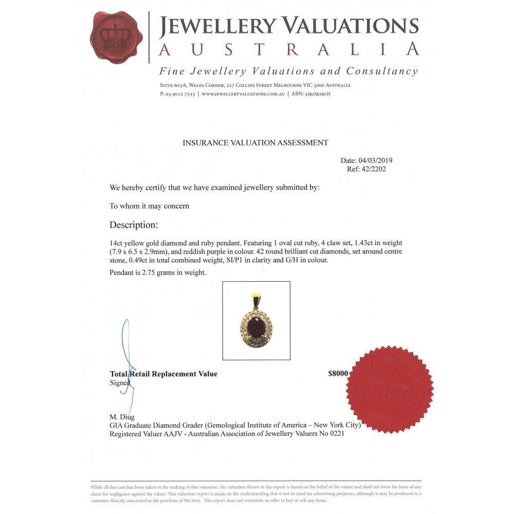14K Yellow Gold, Ruby and Diamond, Double Halo Pendant