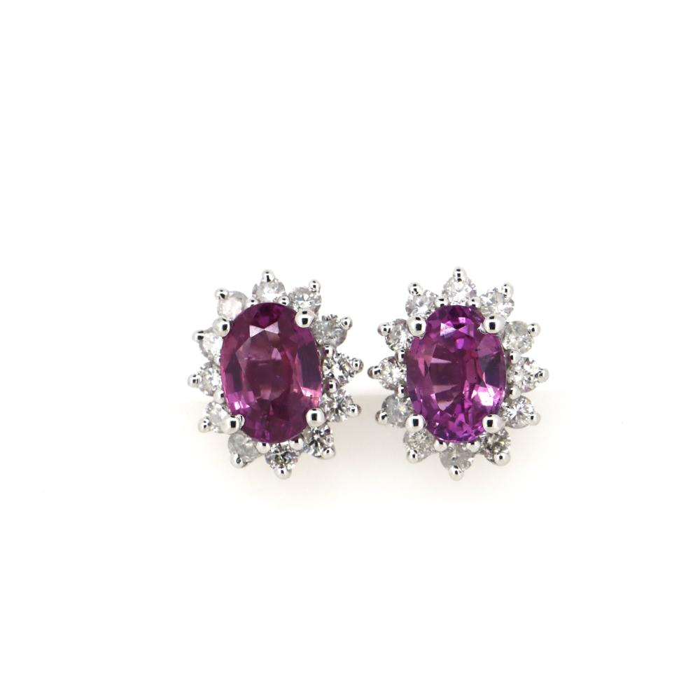 14K White Gold, Pink Sapphire and Diamond, Vintage Style Stud Earrings