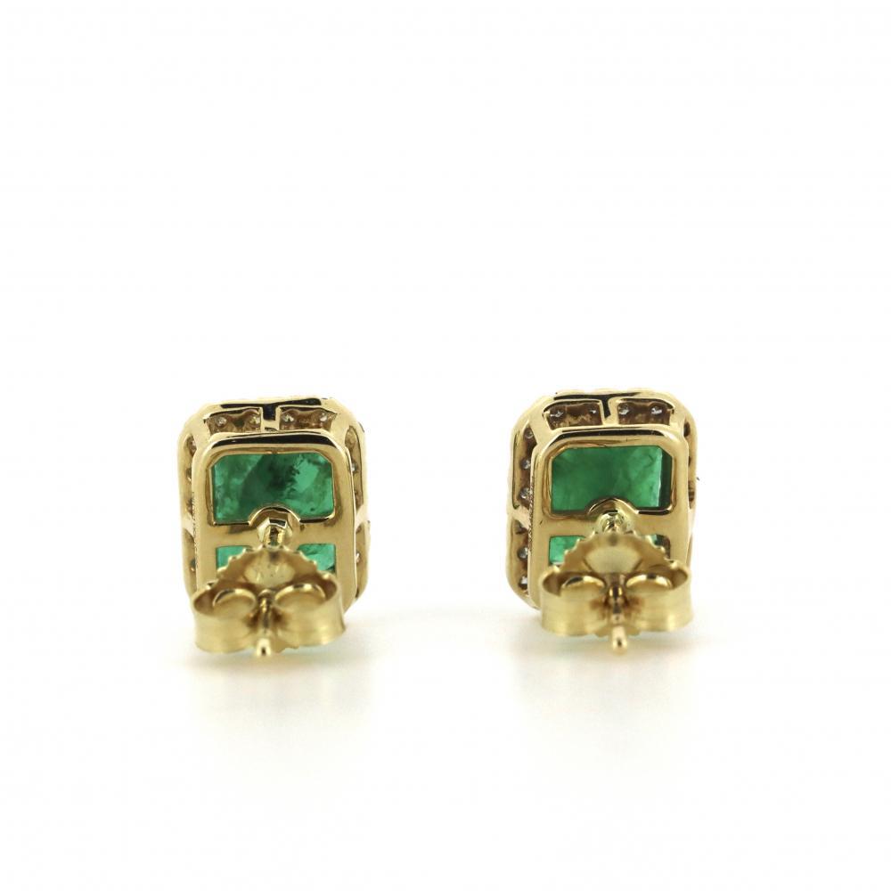 14K Yellow Gold, Emerald and Diamond, Vintage Style Halo Stud Earrings
