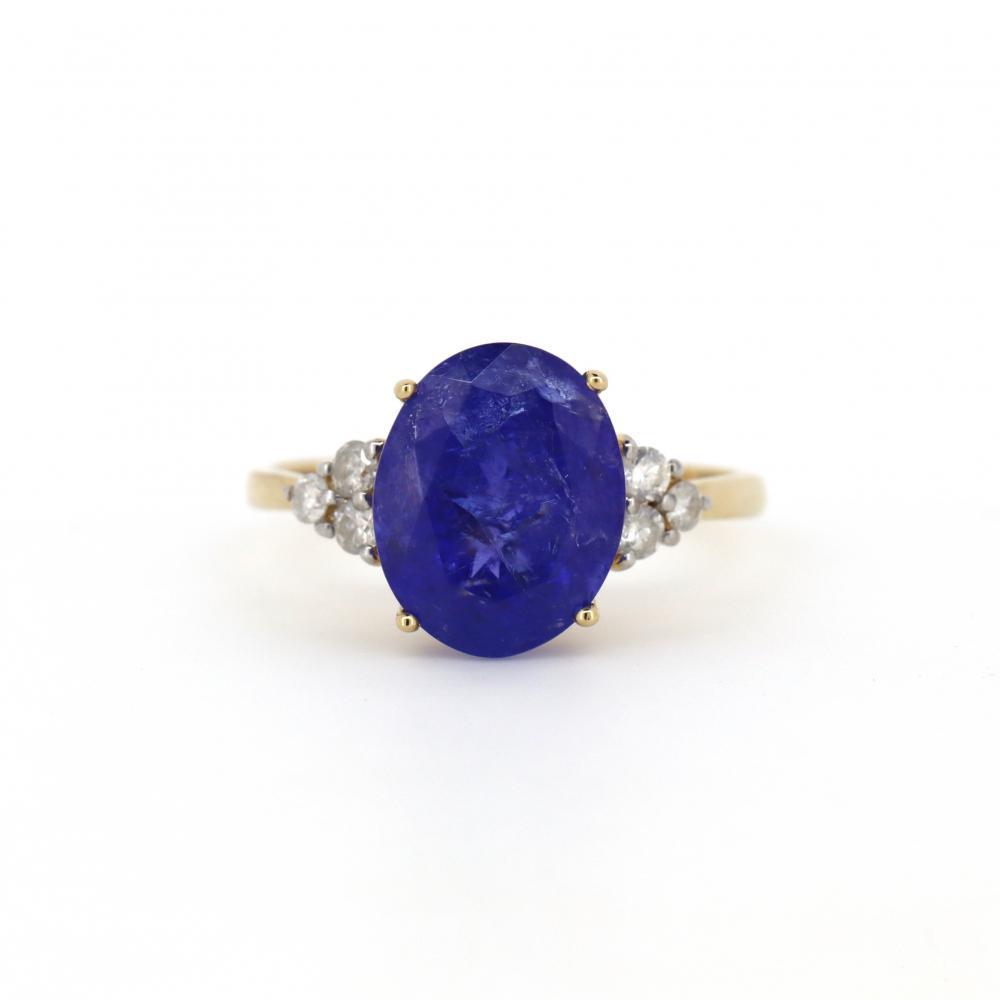14K Yellow Gold, Tanzanite and Diamond, Trilogy Style Ring