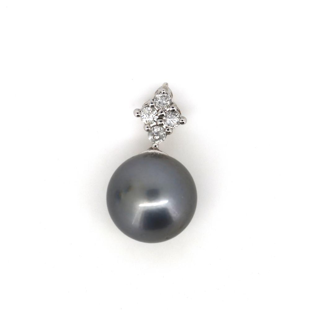 14K White Gold, Cultured Tahitian Pearl and Diamond, Vintage Inspired Pendant