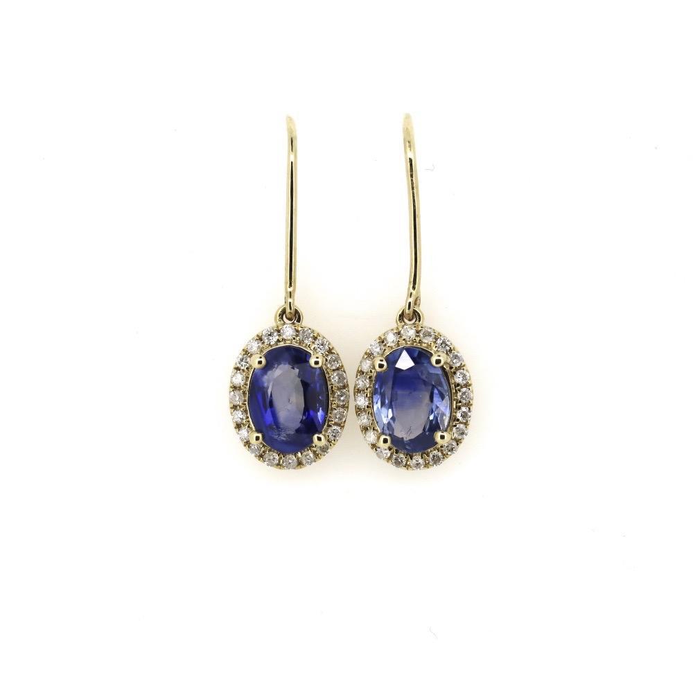 14K Yellow Gold, 1.67ct TSW, Ceylon Sapphire and Diamond, Halo Drop Earrings