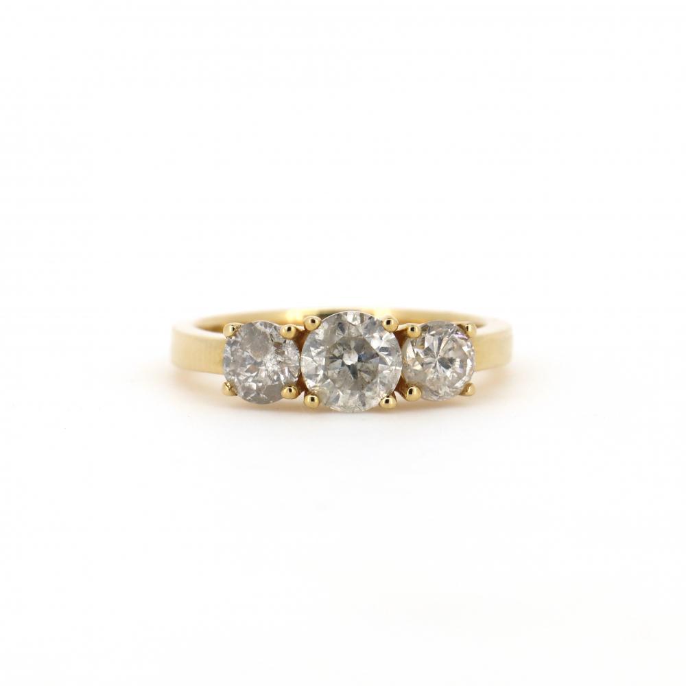 14K Yellow Gold, 1.80ct TDW Diamond, Trilogy Ring