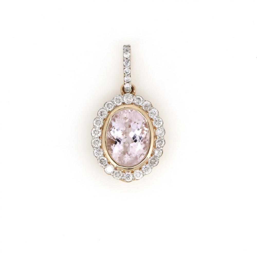 14K Rose Gold, Morganite and Diamond, Antique Style Halo Pendant