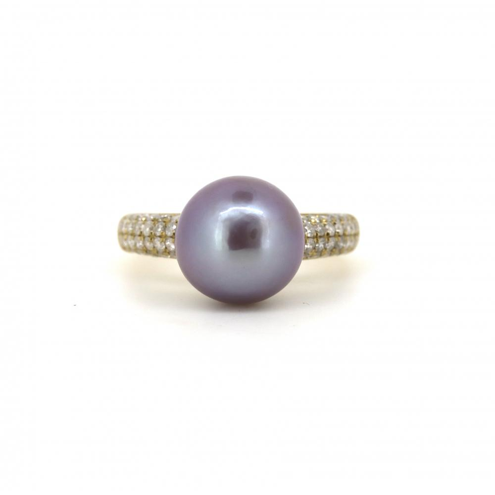 14K Yellow Gold, Cultured Pearl and Diamond, Vintage Design Ring