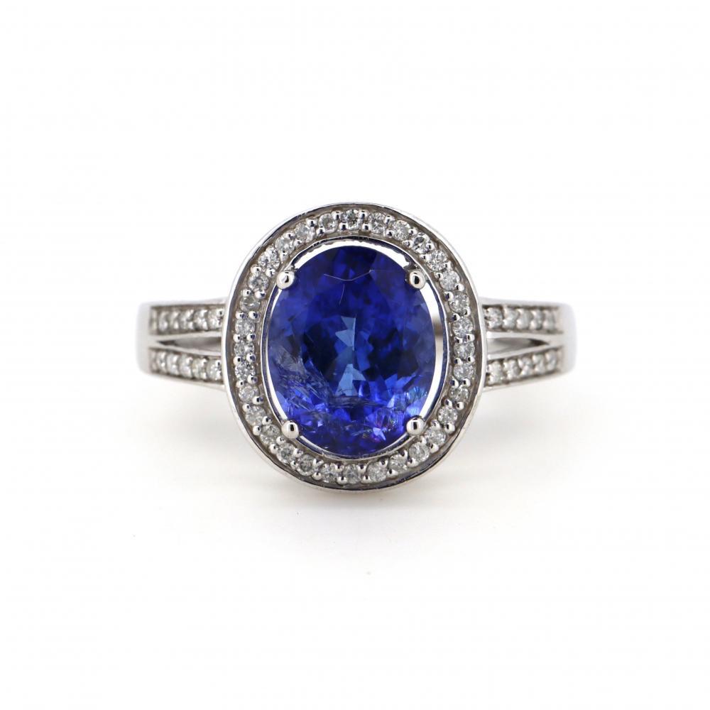 14K White Gold, Tanzanite and Diamond, Vintage inspired Halo Ring