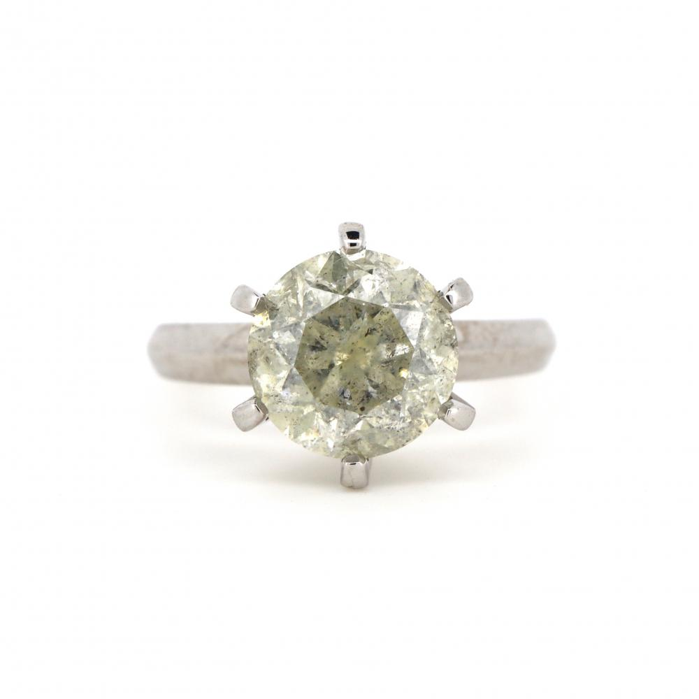 18K White Gold, 3.97ct Diamond, Solitaire Ring