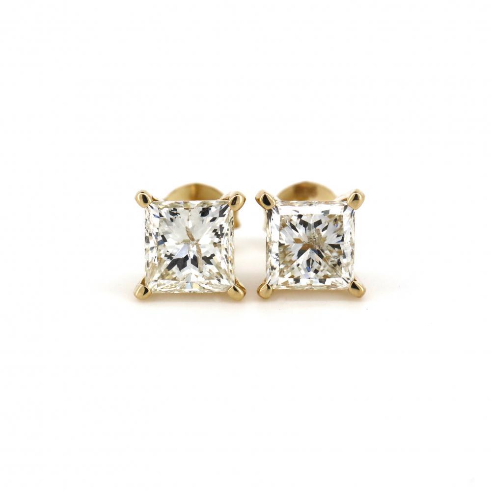 14K Yellow Gold, 2.02ct TDW Diamond, Stud Earrings