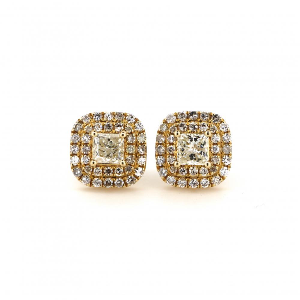 14K Yellow Gold and Diamond, Double Halo Stud Earrings