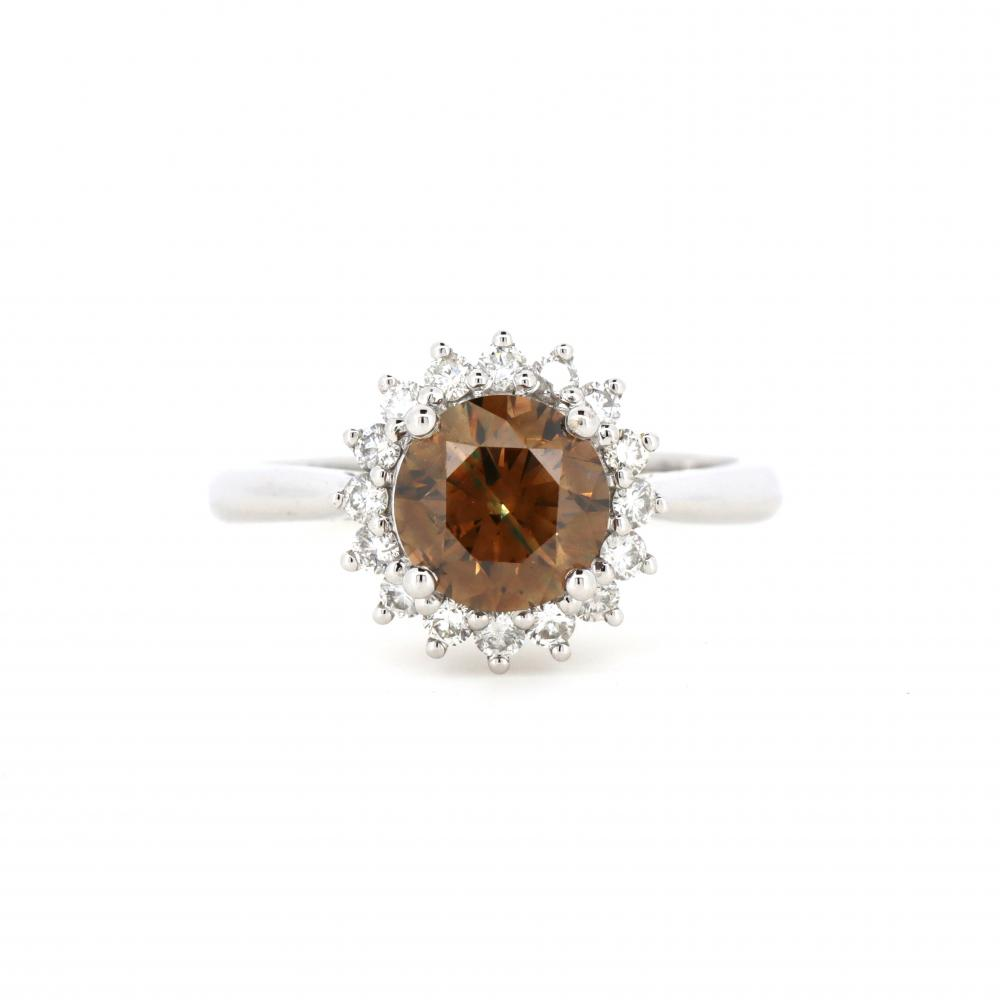14K White Gold and Cognac Diamond, Vintage Style Halo Ring