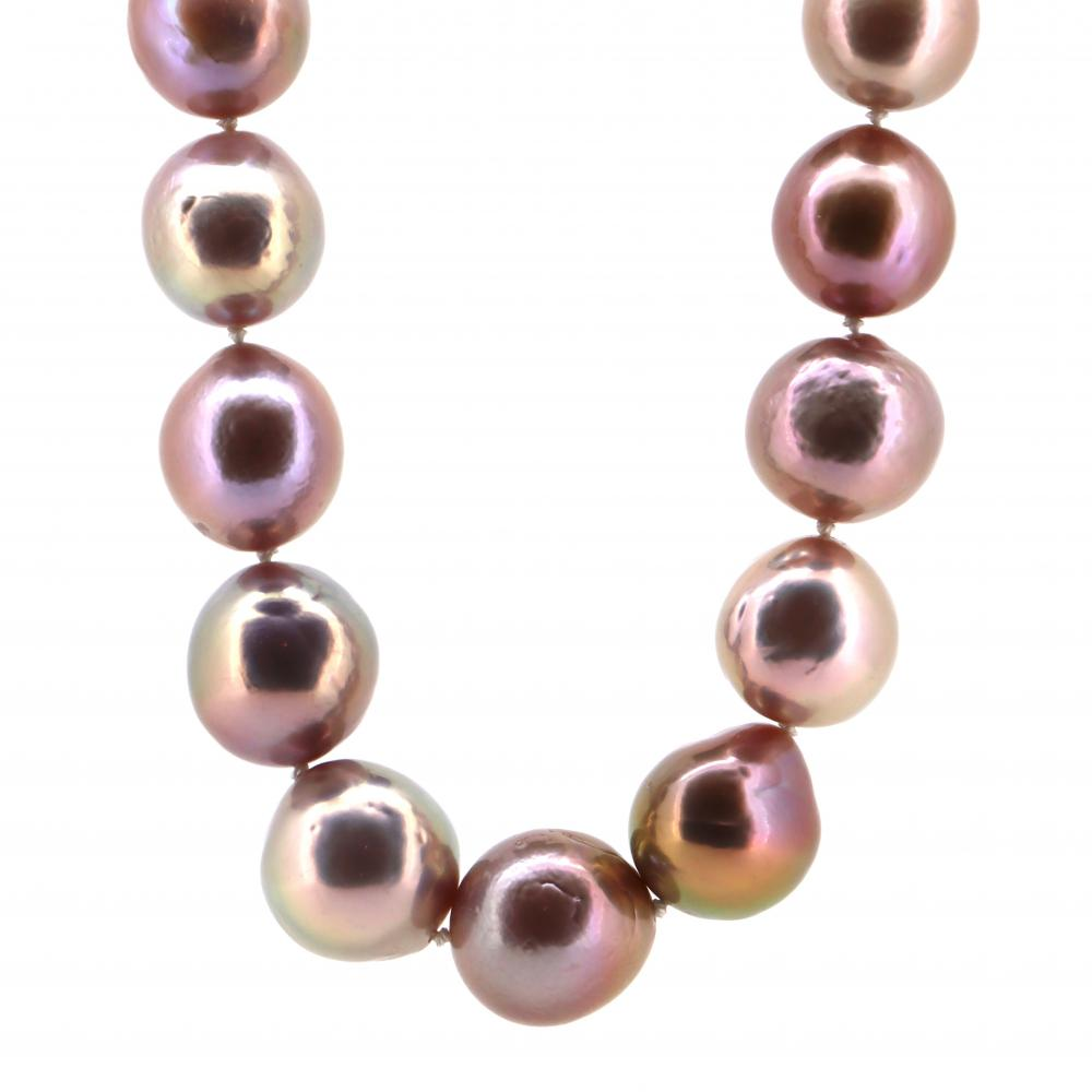 14K Rose Gold, Cultured Pearl and Diamond, Strand Necklace