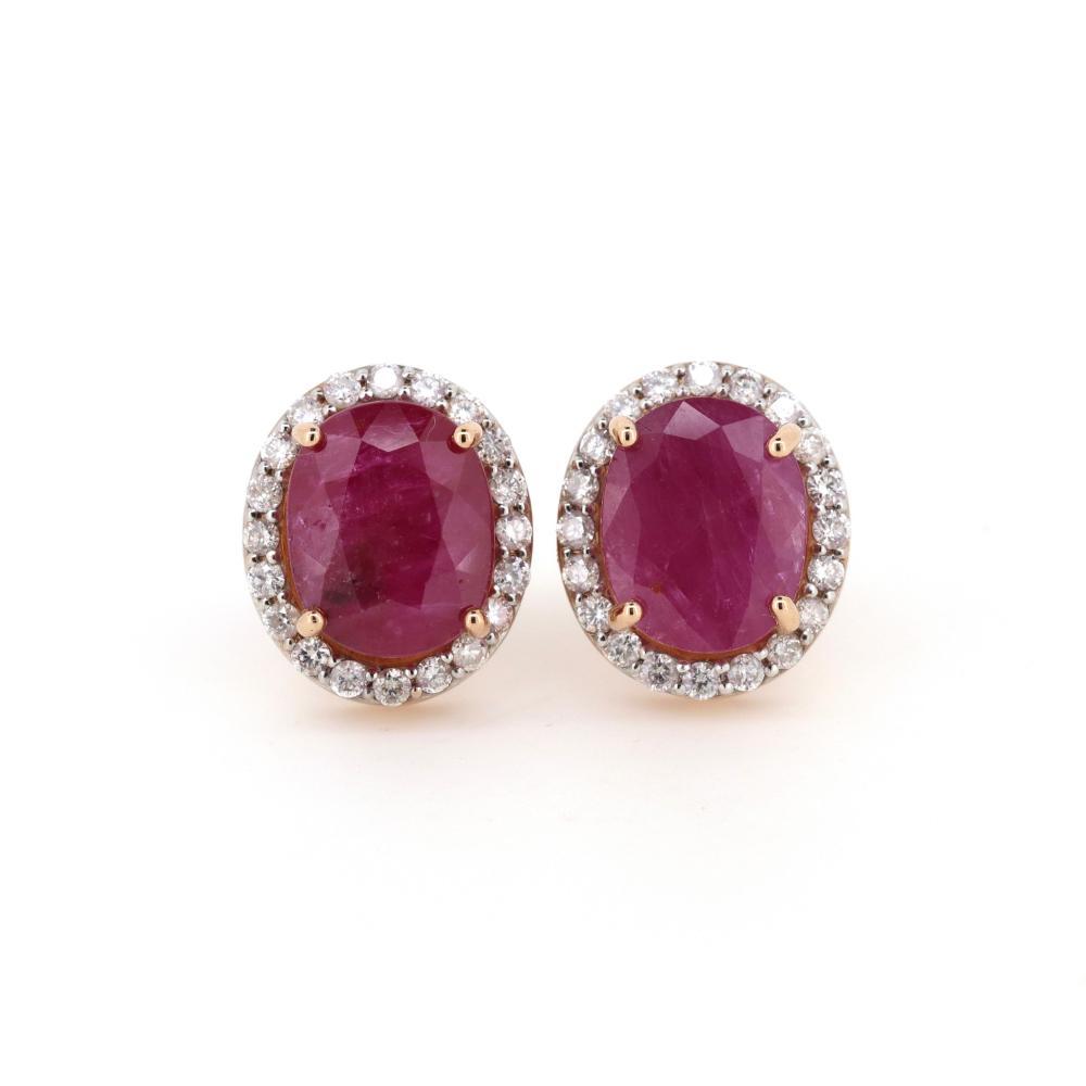 14K Rose/White Gold, Ruby and Diamond, Vintage Design Halo Stud Earrings