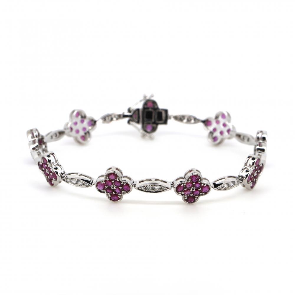 14K White Gold, Ruby and Diamond, Floral Design Tennis Bracelet