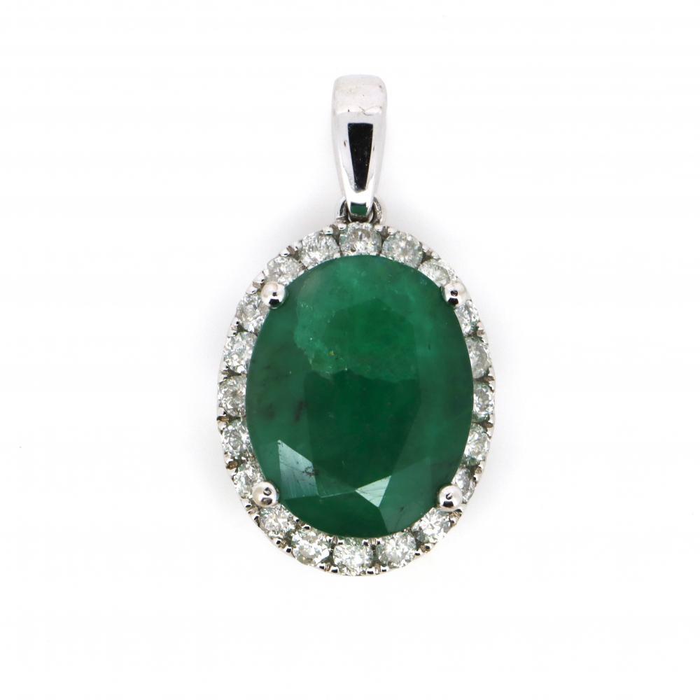 14K White Gold, Emerald and Diamond, Halo Pendant