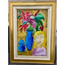 "Charles Blackman ""Blonde Lady and Vase"""
