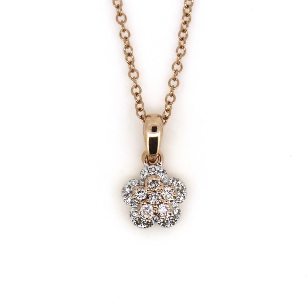 14K Rose Gold and Argyle Pink Diamond, Flower Pendant Necklace