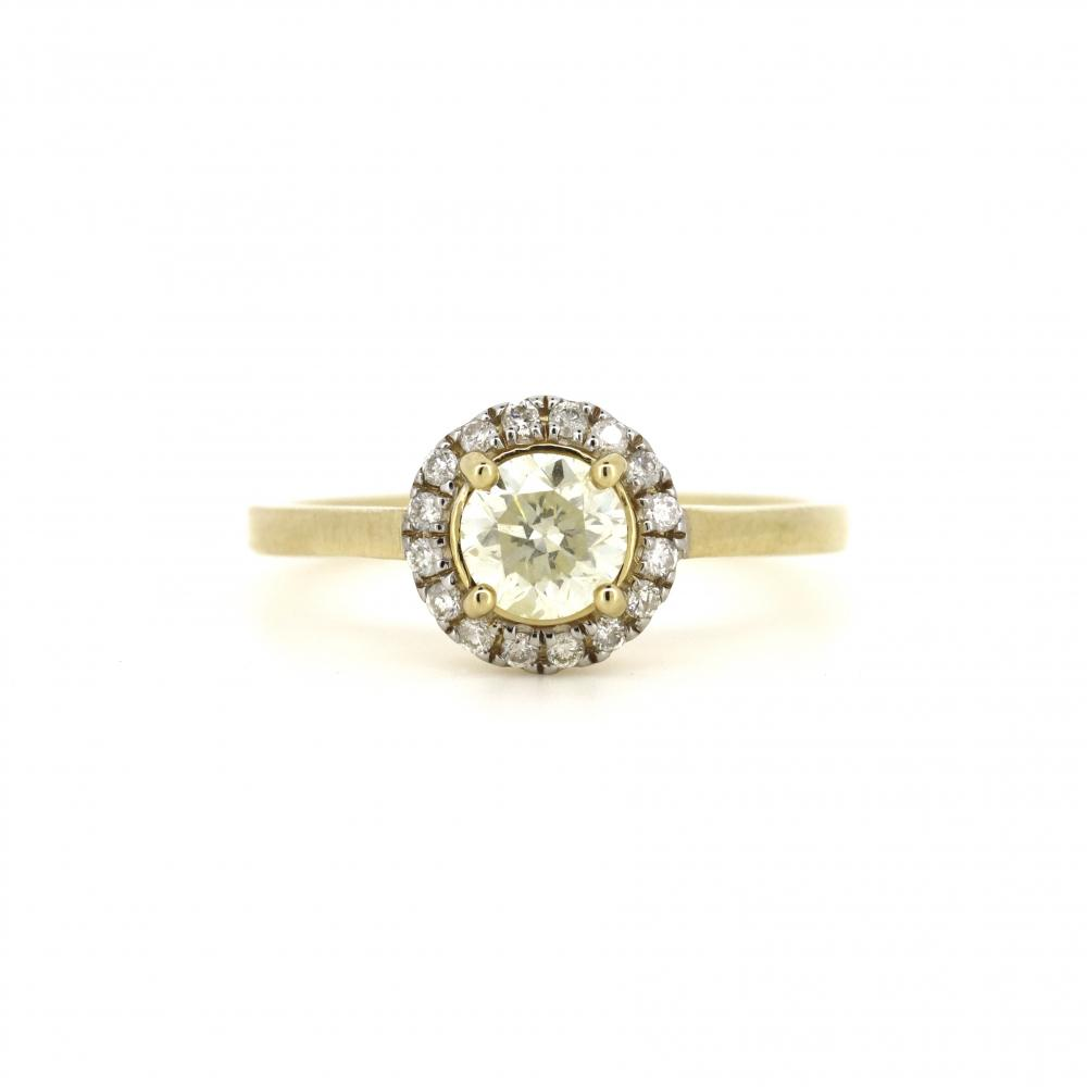 14K Yellow Gold and Diamond, Halo Ring