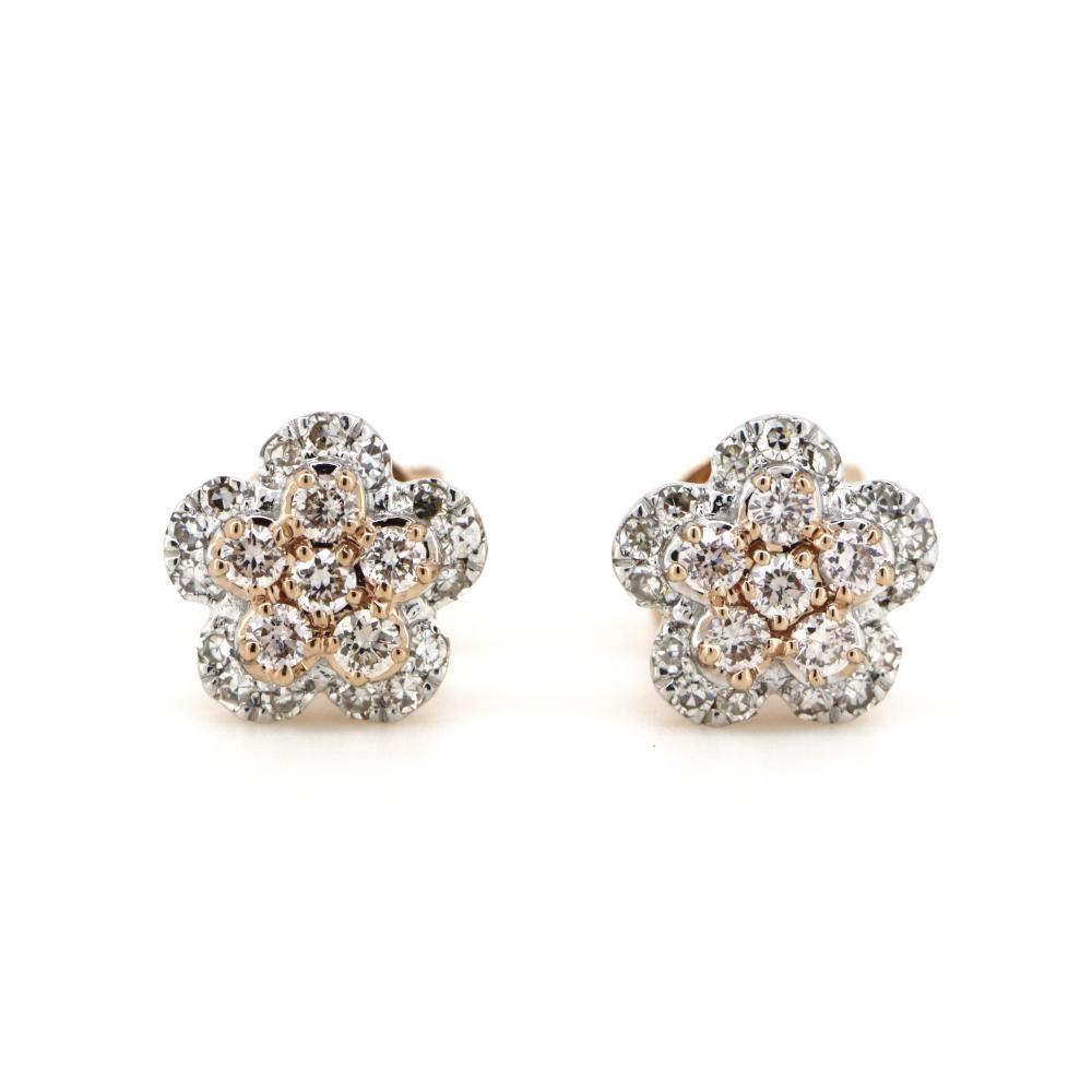 14K Rose Gold and Argyle Pink Diamond, Flower Stud Earrings