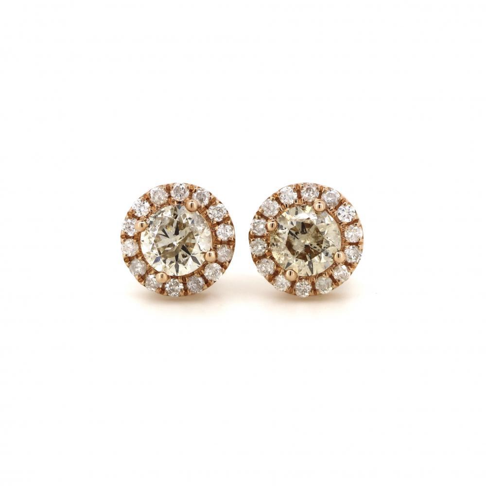 14K Rose Gold and Yellow Diamond, Halo Stud Earrings