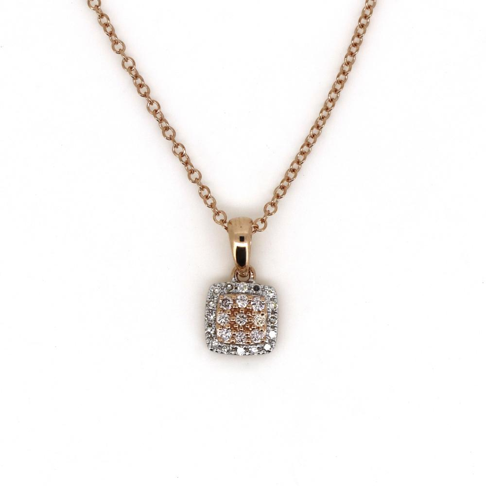14K Rose Gold and Argyle Pink Diamond, Square Pendant Necklace