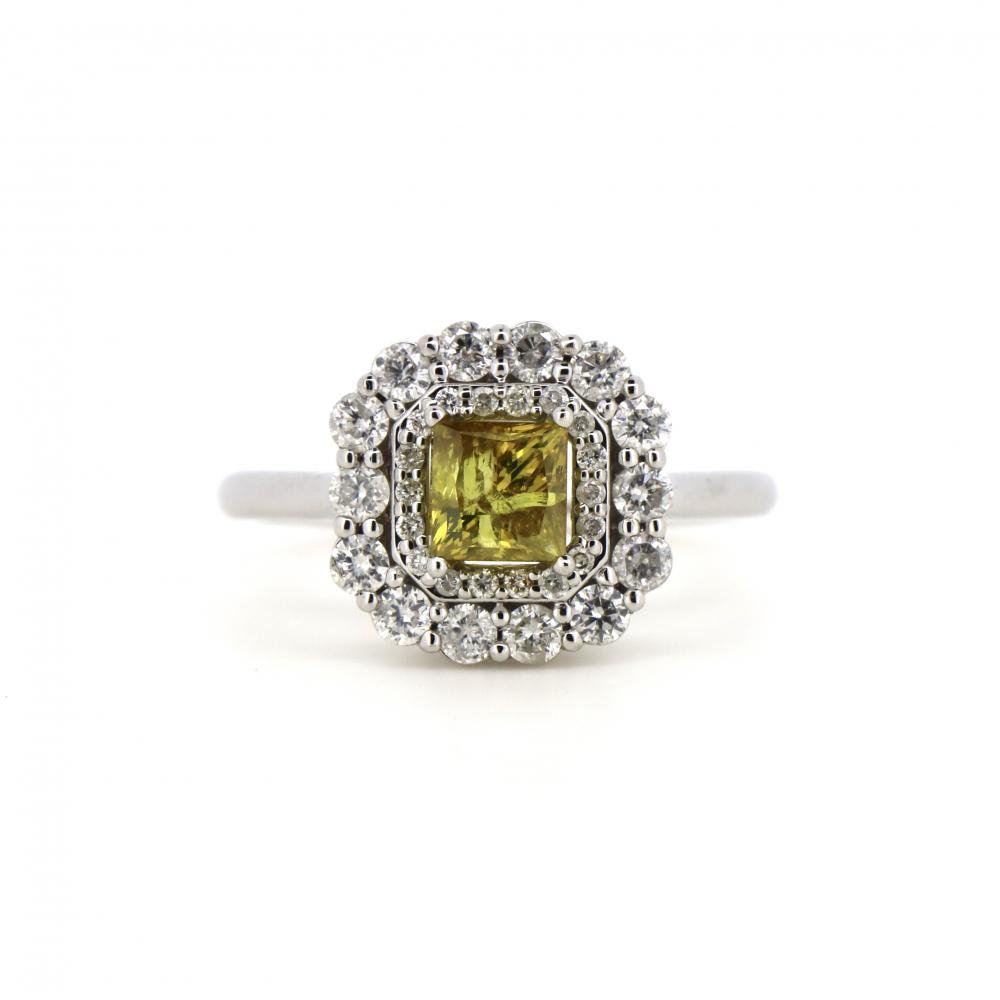 14K White Gold and Yellow Diamond, Double Halo Ring