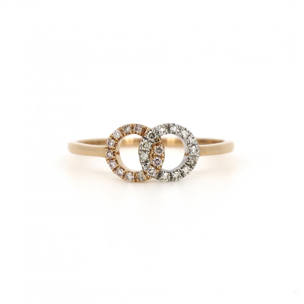 18K Rose Gold and Rhodium, Argyle Pink Diamond, Double Circle Ring