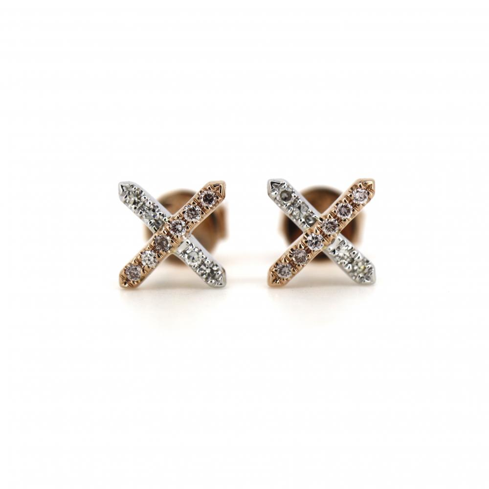 14K Rose Gold and Argyle Pink Diamond, Cross Stud Earrings