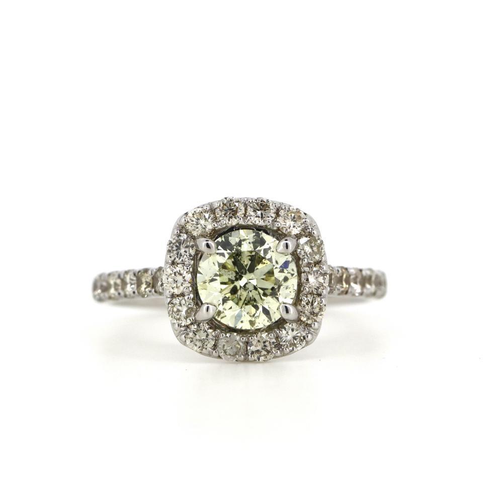14K White Gold and Yellow Diamond, Halo Ring