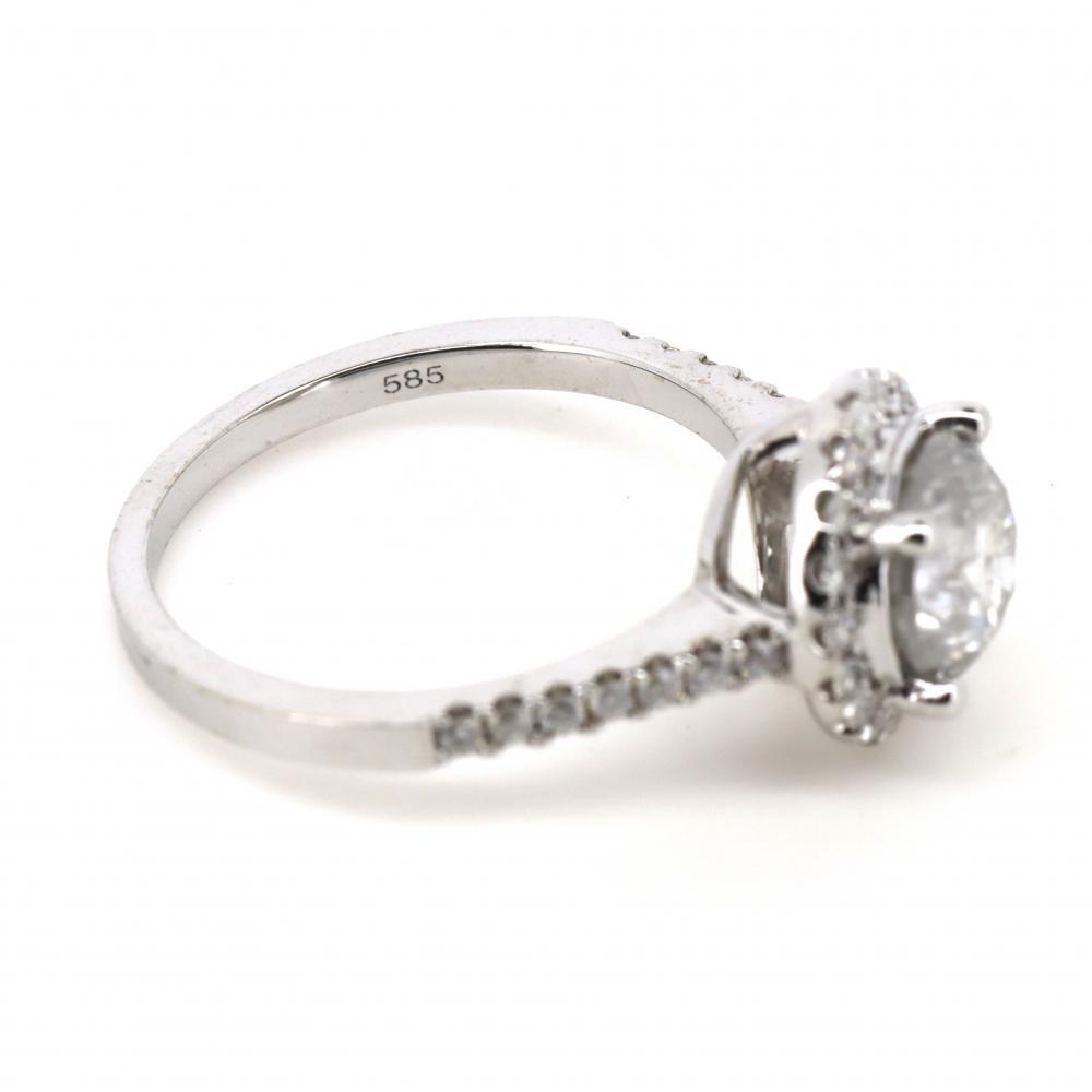 14K White Gold and Diamond, Halo Ring