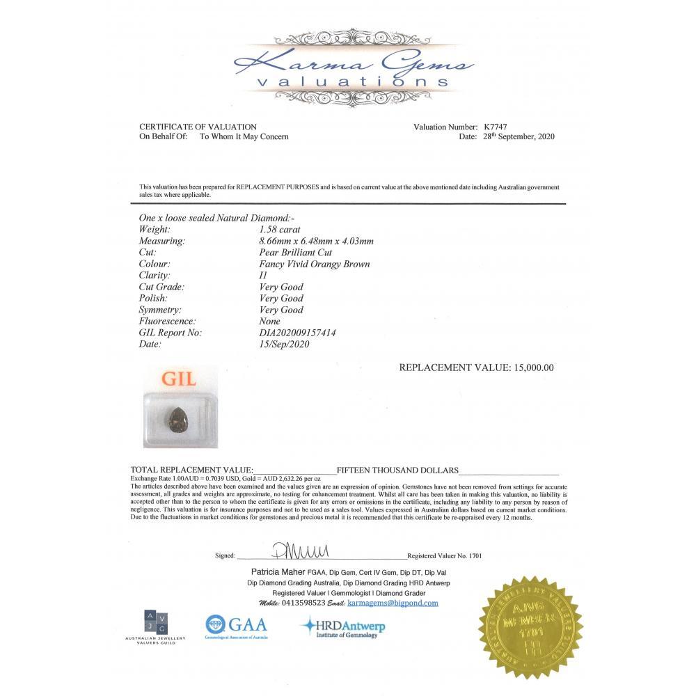 1.58ct Certified, Natural Brown Diamond