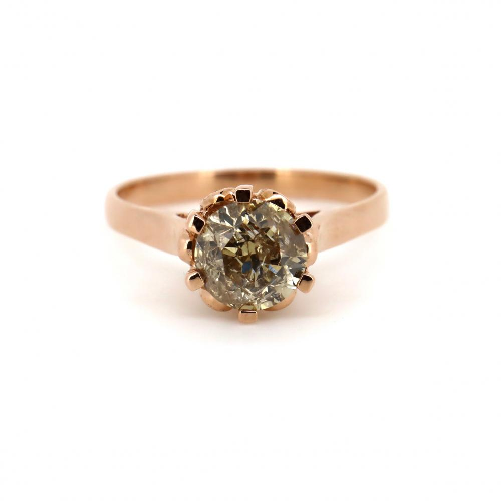 14K Rose Gold, 2.01ct Champagne Diamond, Solitaire Ring