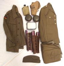 Similar box of assorted Australian uniform shirts, jackets and other world uniforms