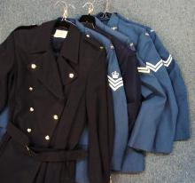 Lot of 6 Royal Australian Air Force 1970's era jackets, with trench coat and mess dress jacket