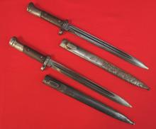 Lot of 2 bayonets with scabbards, both being Czech type VZ 24