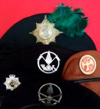 5 x 1980's/1990's berets, including French, British Army, including Irish Guards with green plume