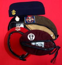 5 x 1980's/1990's berets, including French Airborne, British Army, including Military Police red.