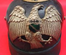 Circa 1895 Rhineland Provincial Militia - German leather spiked helmet