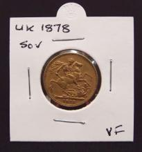 1878 Gold Sovereign VF