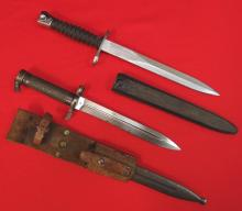 Lot of 2 bayonets with scabbards, Swiss 1957 & Swedish 1896 with leather frog