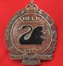 1930-42 Period Australian 10th Light Horse Regiment uniform cap badge